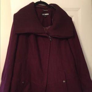 Burgundy diagonal alley Steven madden coat